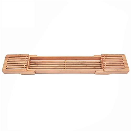LWF Bañera de bambú Caddie, Moderno Baño Bañera Bandeja de Almacenamiento de jabón de Toallas Copa Plataforma Organizador de baño de hidromasaje Puente de baño