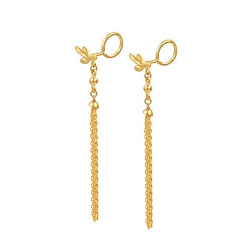 Beydodo Pendientes Oro Amarillo Mujer 18K Hoja con Borla Pendientes Oro