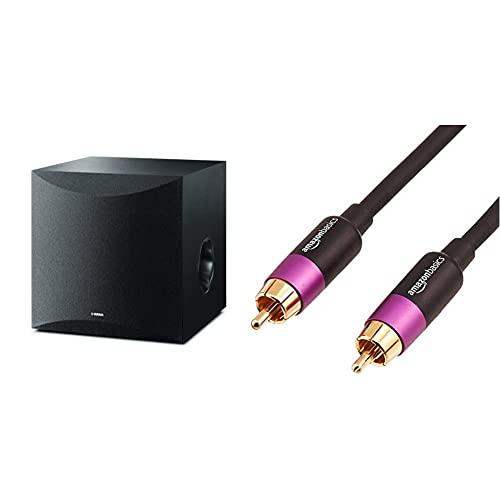 Yamaha Ns-Sw100 Altavoz Subwoofer Amplificado Color Negro + Amazon Basics-Cable para Subwoofer