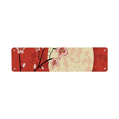NoBrands Moon Modern Letrero de lata, Sakura Branches with Flowers Eastern Culture Inspired Shades of Tree 10 x 45 cm Wall Hanging Art Art Metal Sign, Home Cafe Bar Pub Beer Wall Decor
