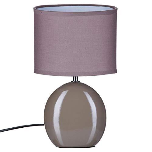 Lampe Ovale en céramique - H. 31 cm. - Taupe