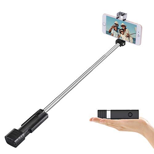 Bluetooth Selfie Stick, Mini Cell Phone Selfie Sticks for iPhone 11/11 Pro/XS Max/XR/XS/X/8/7/6s/6 Plus, Samsung, Huawei Smartphones (Black)