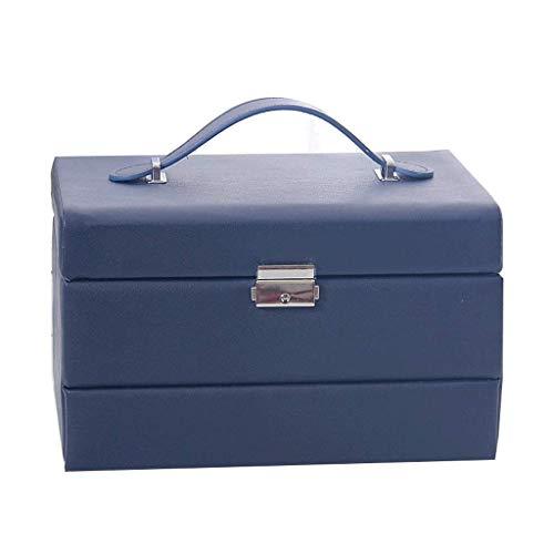 Jewelry Box 24.5 * 18 * 15 cm con Bloqueo Regalos de Boda Caja de Almacenamiento Simple Hand Necklace Pendientes (Color: Blanco) leilims (Color : Blue)