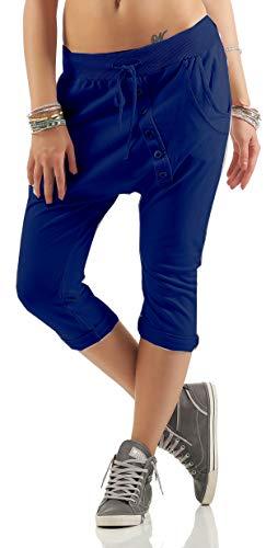 Mississhop – Pantalones pirata para mujer, pantalones harén para globo, pantalones bombachos, pantalones de verano, pantalones Baggy, 3/4 con cintura elástica
