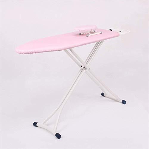 Tablero de planchado, Estabilidad anti resbala doméstica Portátil Ligera Portátil Manual de maniobra Plegable Marco de tabla de planchado Pink, refuerzo de placa de hierro Gran mesa de planchado 20212