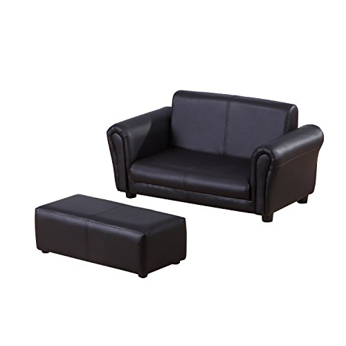 HOMCOM 2 Seater Kids Twin Sofa Childrens Double Seat Chair Furniture Armchair Boys Girls Couch w/Footstool (Black)
