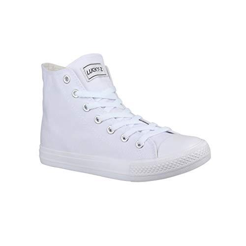 Elara Unisex Sneaker Bequeme Sportschuhe für Damen und Herren Low top Turnschuh Textil Schuhe CA014/CB019 AllWhite 45