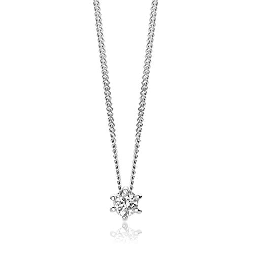 Orovi Collar para mujer de oro blanco con colgante de diamante solitario de oro de 9 quilates (375)...