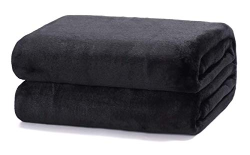 TIENDA EURASIA Mantas para Sofá de Terciopelo - Material 100% Microfibra - Tacto Suave Sedalina (Negro, 130 X 160 CM)