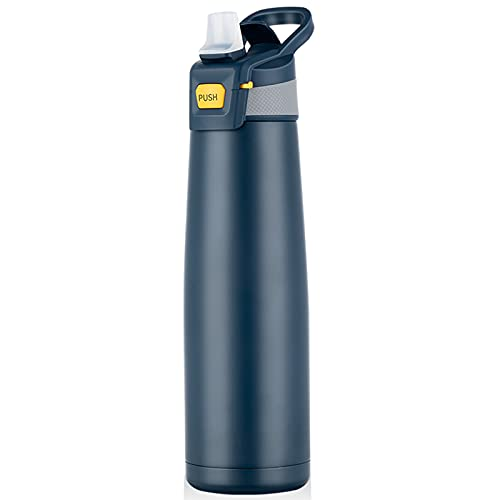 Botella antigoteo de acero inoxidable 750 ml, botella de agua duradera, sin BPA, con pajita abatible, botella deportiva aislada para viajes, deportes al aire libre, con juego de limpieza (azul marino)