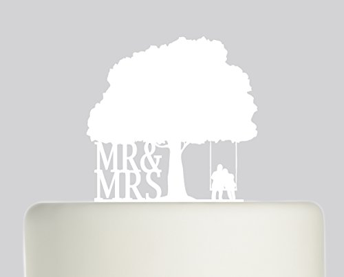 Bride And Groom Mr & Mrs Couple on Swing under Oak Tree Wedding Cake Topper Acrylic Cake Topper White Acrylic