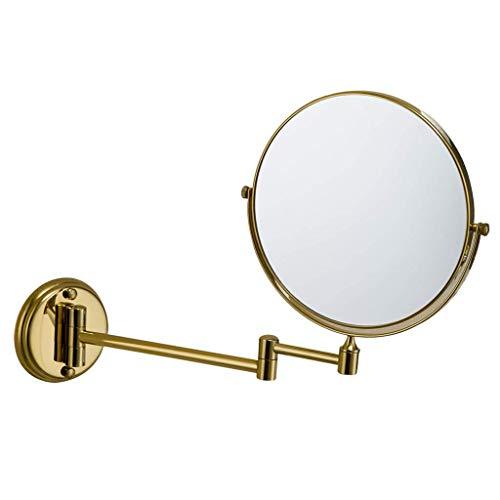 HZJ Miroir de Maquillage pour Salle de Bains Miroir Pliant à Miroir grossissant 2X à Fixation Murale, 10 Pouces, Miroir de vanité d'hôtel Chrome Poli