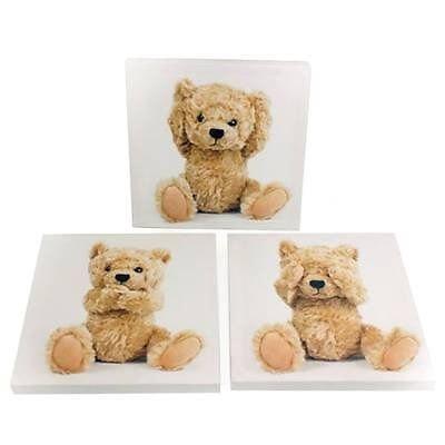 Kinder 3er Set Teddybär Leinwand Bilder Baby Kinderzimmer Wandkunst