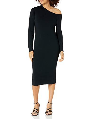 The Drop Giselle Vestido Midi de Punto con Escote Asimétrico Dress Mujer