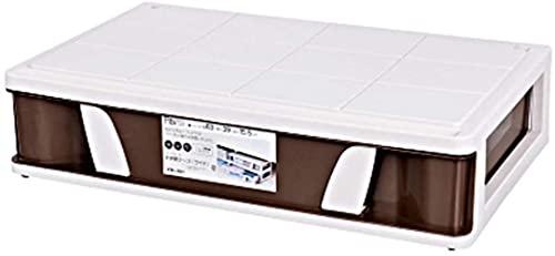 Förvaringsväska, lätt Robust stapelbar under säng Plast Liten försegling bärbar med remskivbehållare (färg: BRUN)