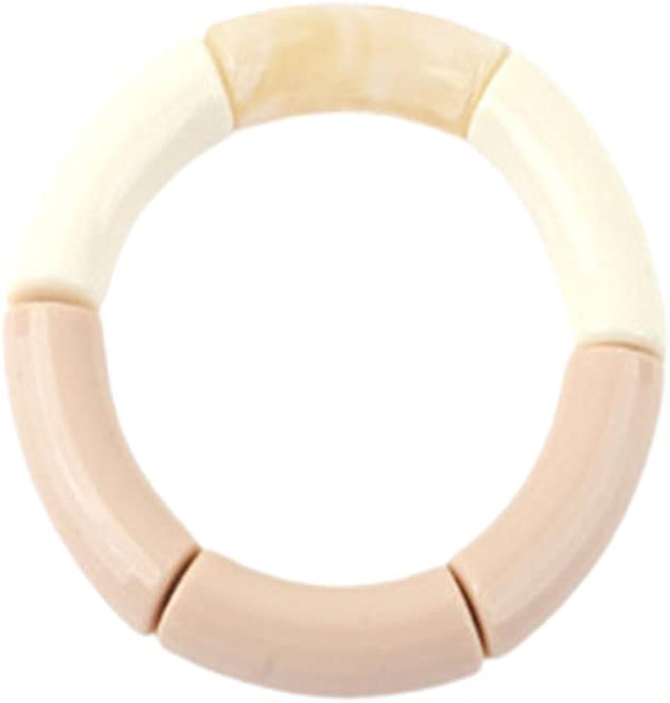Hifunny Elastic Tube Bangle Bracelet Colorful Acrylic Geometric Adjustable Round Tube Bangle for Women Girl Jewelry Gift