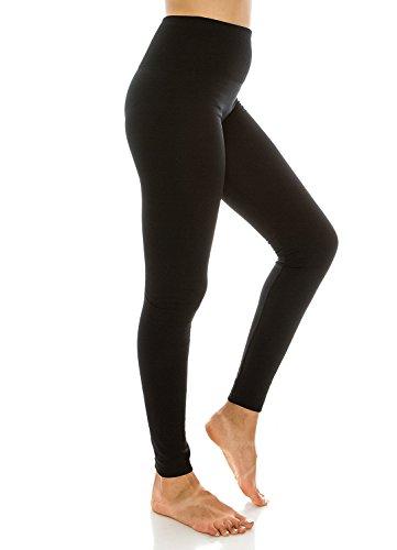 Sofra Ladies High Waist Fleece Leggings Regular & Plus Black