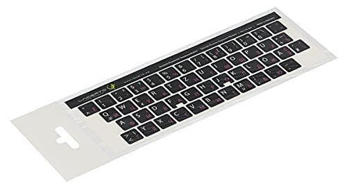 Lacerto®   14x14mm Russisch-Deutsche Aufkleber für PC/Laptop & Notebook Tastaturen mit mattem kratzfestem Laminat   Farbe: Rosa-Schwarz (Nicht transparent)