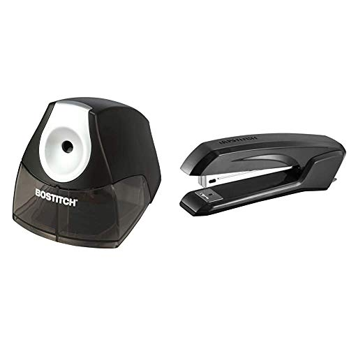 Bostitch Personal Electric Pencil Sharpener, Black (EPS4-BLACK) & Bostitch Office Ascend 3 in 1 Stapler with Integrated Remover & Staple Storage, (B210-BLK), Gloss Black, Full Size