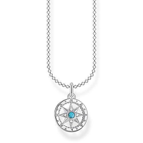 Thomas Sabo - Collar para mujer con brújula de plata de ley 925, 38-45 cm de longitud
