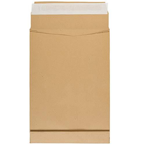 Idena 10253 - Faltentasche DIN B4, mit 4 cm Bodenfalte, 150 g/m², haftklebend, ohne Fenster, FSC-Recycled, natron-braun, 100 Stück