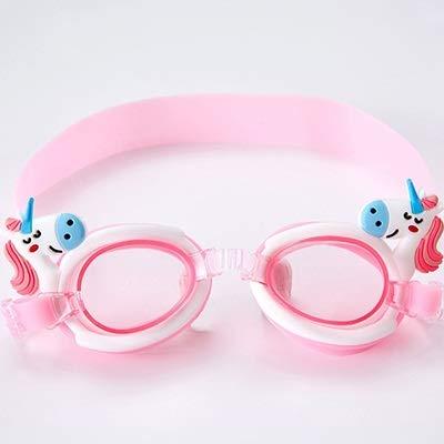 xingguang Gafas de natación lindas con forma de unicornio para niños y niños, de silicona transparente, impermeables, gafas antivaho, para piscinas, natación, color rosa, blanco y unicornio