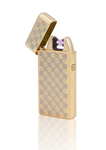 TESLA Lighter T05 Lichtbogen Feuerzeug, Plasma Single-Arc, elektronisch wiederaufladbar, aufladbar mit Strom per USB, ohne Gas und Benzin, mit Ladekabel, in edler Geschenkverpackung, kariert Gold