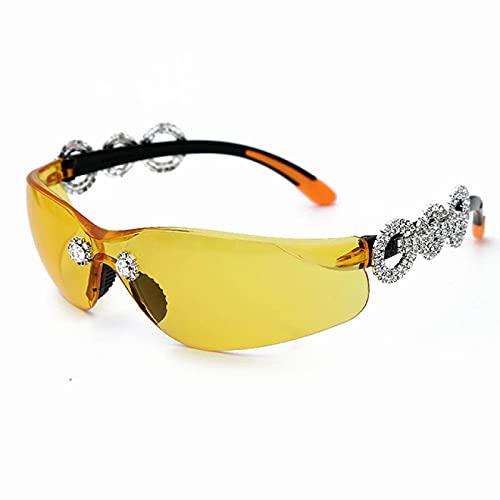 WOJING Gafas de Sol de Diamantes de Lujo Hombres Mujeres Moda Piloto Gafas Masculinas Mujeres Gato Eye Piedra Eyeglasses Fresco Lente Transparente UV400