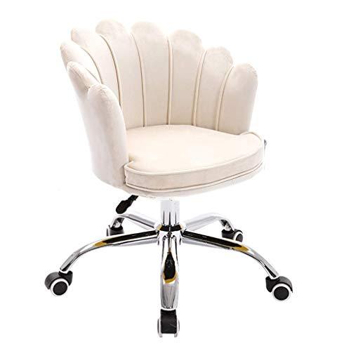 Desk Chair,Freizeitstuhl Ergonomisch mit Hebeverstellung, Bürostuhl Hochdichtes Schwammkissen Abnehmbar Waschbar für Zuhause, Esszimmer, Weiß