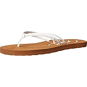 Roxy womens Cabo flip flop sandals, White, 9 US