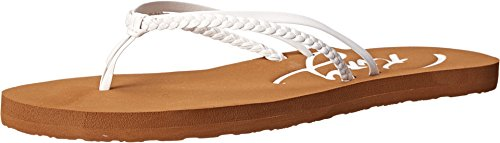 Roxy womens Cabo flip flop sandals, White, 8 US
