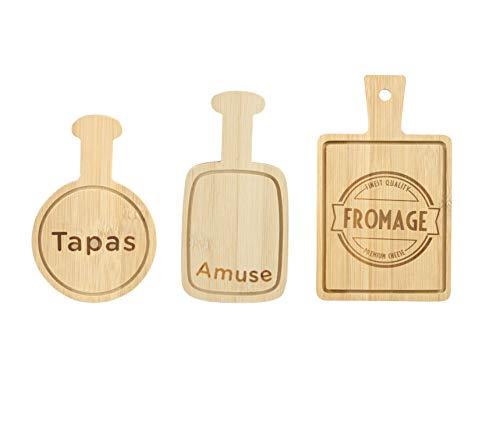 Mini tabla de madera para servir palo, juego de 3 tablas individuales de tapas para queso, divertido juego de losas para servir mini antipasti, aperitivos y aperitivos