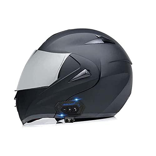 Casco Bluetooth De La Motocicleta, Víspera De Dos Soles con Tirón Modular, Casco Completo, Casco Certificado De Dot/Ece, Sistema De Comunicación Integrado Mp3 Incorporado(Color:Gris)