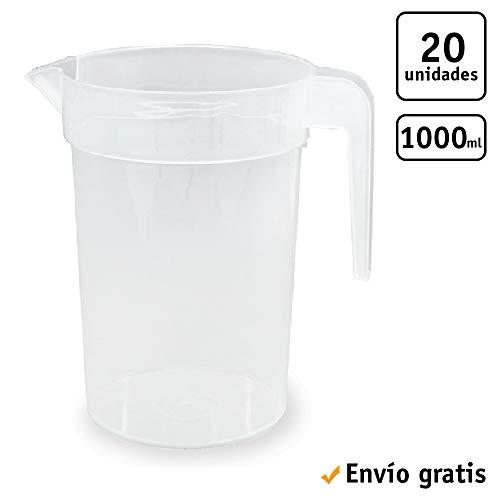 TELEVASO 20 uds - Jarra 1 litro con asa - Plástico (PP)...
