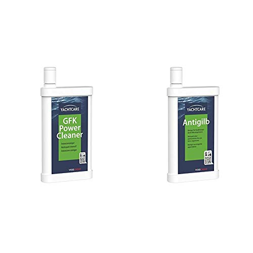 Yachtcare GFK Power Cleaner - Premium Reiniger für hartnäckige Verschmutzungen an Boot und Caravan & Anti Gilb 500ML - Reiniger für verwittertes und vergilbtes Gelcoat
