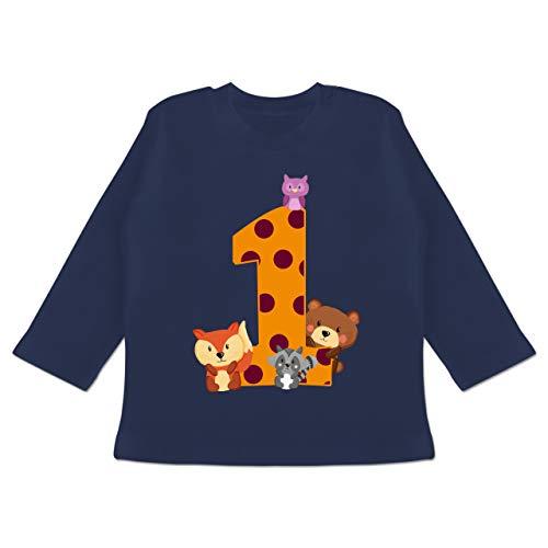 Geburtstag Baby - 1. Geburtstag Waldtiere - 12/18 Monate - Navy Blau - Baby Shirt 1 Jahr - BZ11 - Baby T-Shirt Langarm