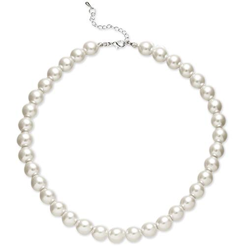 BABEYOND Round Imitation Pearl Necklace Wedding Pearl Necklace for Brides White (Diameter of Pearl 10mm)