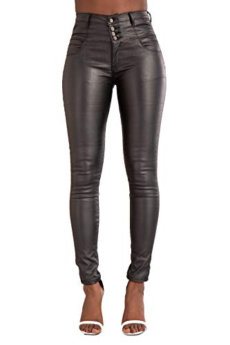 Lusty Chic Hochwertige Damenhosen, Glatte Damen Hose, Frauen Kunstlederhose, PU Lederhose Jean (36, Taste mit hoher Taille 4)