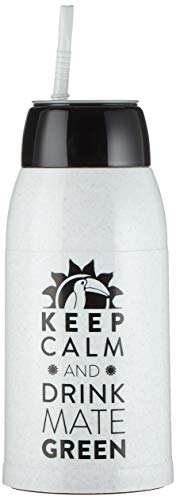Yerbomos 1.0 Flasche, Thermoskanne & Bombilla | Yerba Mate Tee Kürbis 500 ml I Mate Green Weiße Kunststoffthermoskannne Izum Trinken mit Strohhalm I Wasserbehälter und Behälter für Mate-Tee