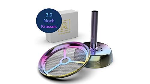 M. ROSENFELD Premium Shisha Kaminaufsatz Flic-Flac – edler Kamin für Tonkopf, Silikonkopf, Keramikkopf, Steinkopf, Kaminkopf mit Regenbogen Effekt