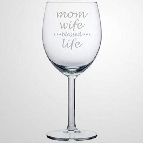 Copa de vino para madre y esposa, vida bendita, soplada a mano, para inauguración de la casa, perfecto para bodas, fiestas de cumpleaños, aniversario, 17 onzas