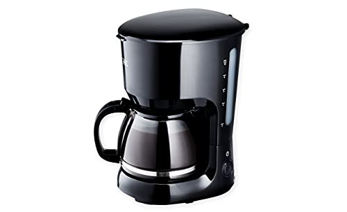 KHG KA-128S Filter-Kaffeemaschine inkl. Glaskanne, Permanentfilter & Warmhaltefunktion, schwarz, 1,25 Liter 750 Watt