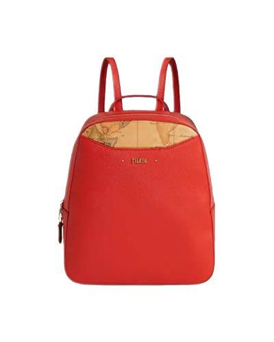 ALVIERO MARTINI Zaino da Donna colore Rosso corallo tessuto goffrato stampa saffiano LGQ7294070293