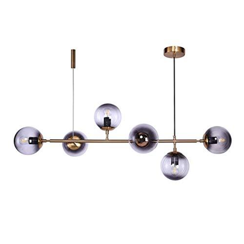 Q-HL Iluminación de Interior lámparas de araña 6 Luces Estilo Industrial Frijoles mágicos lámpara de araña de Hierro Forjado, Bola de gradiente Creativa lámpara de Techo de Pantalla Redonda de Vidrio