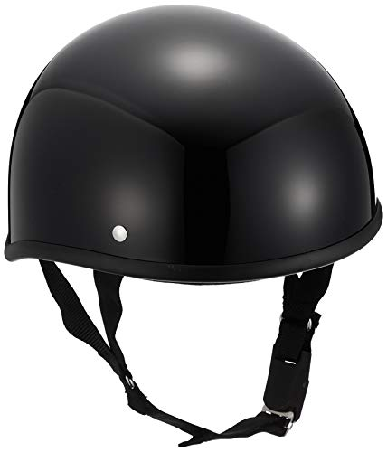 Motorcycle Parts Center 7110 Helmet, Half Duck Tail, Black, One Size Fits Most (Head Circumference Less Than 22.4 - 23.6 inches (57 - 60 cm)