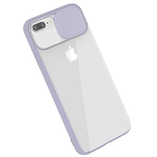 Rdyi6ba8 - Carcasa para iPhone 8 Plus, funda para iPhone 7 Plus, funda CamShield [protección de la cámara], transparente fina, antigolpes y rígida, para iPhone 7 Plus/8 Plus, color morado