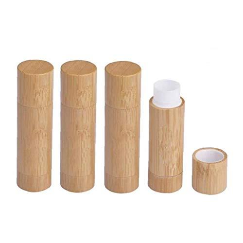 Sin paquete de 4, bambú natural Bálsamo labial Tubos, 5,5 g Vacíe recargable de bricolaje lápiz labial titular Desodorante Caso para el cosmético labial Lip Gloss contenedores con PP blanco de