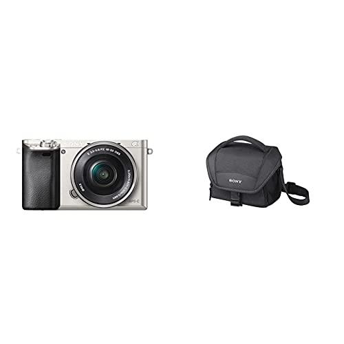 Sony Alpha 6000 Systemkamera (24 Megapixel, 7,5 cm (3 Zoll) LCD-Display, Exmor APS-C Sensor) inkl. SEL-P1650 Objektiv Silber & LCS-U11B Universal-Kameratasche für Camcorder NFX or SLT schwarz