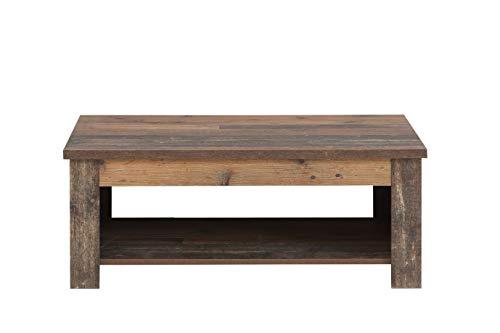 FORTE  Couchtisch Wohnzimmertisch, Holzwerkstoff, 110 x 44,4 (max 66,3) x 65 (max 94,1) cm, mit hochklappbarer Tischplatte und Ablagefläche in trendigem Vintage/Industrial Look