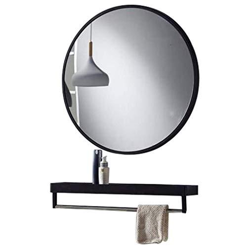 WYJW Ronde wandspiegel, modern metalen frame, wandspiegel voor slaapkamerdecoratie, badkamerspiegel met opbergruimte - Zwart